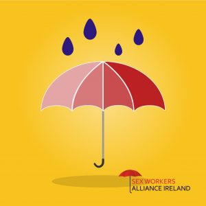 Red umbrella yellow background